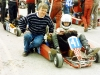 Neil tries out his 'new second hand kart' while Dad keeps a watching brief, Mondello Park 1994